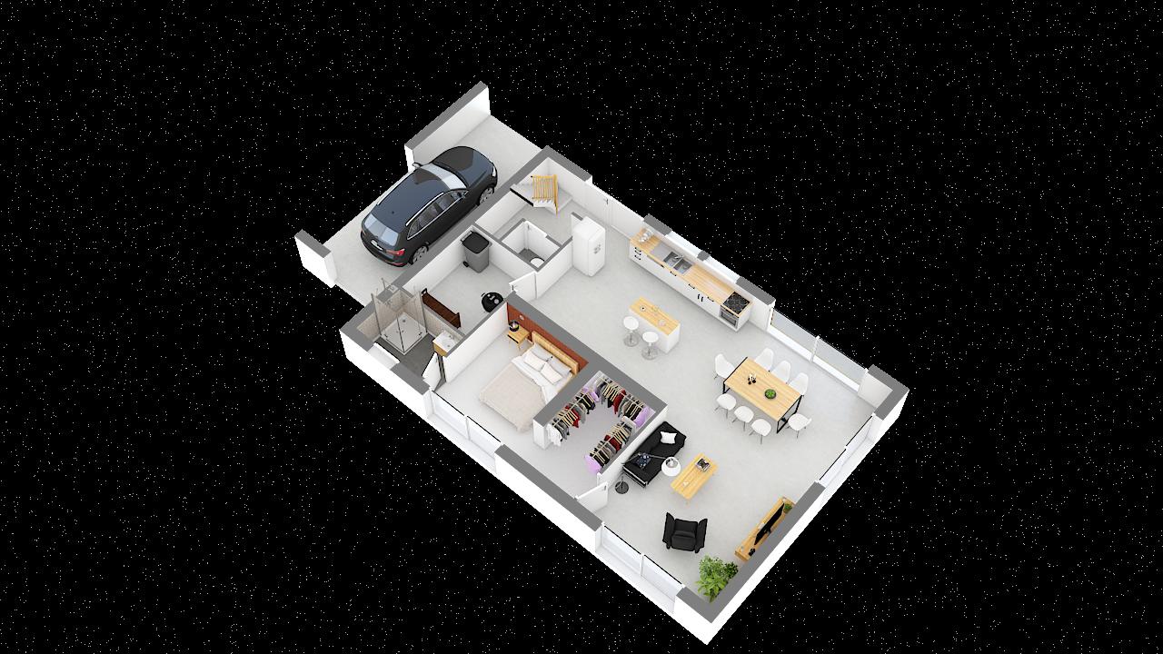 maison ossature bois logicobois modele malaga - rdc - vue iso