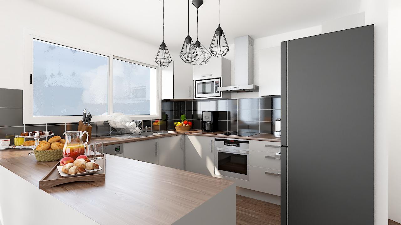 maison ossature bois logicobois modele milan - cuisine