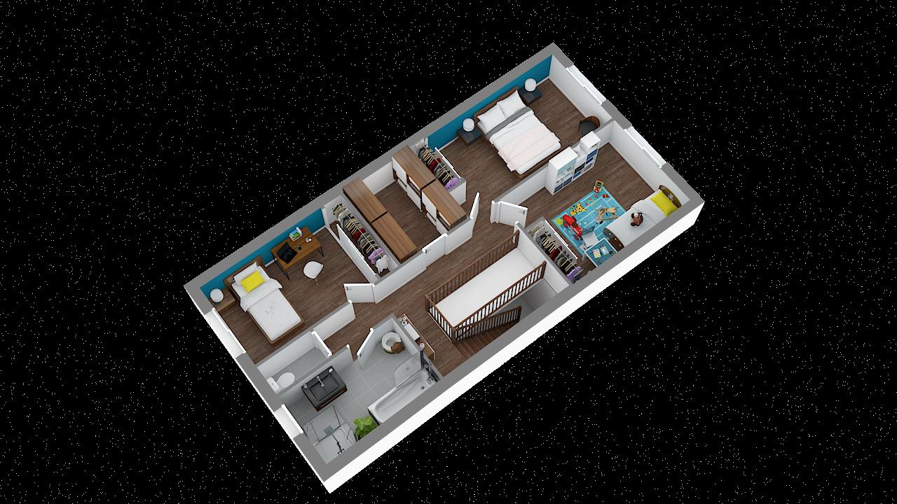 maison ossature bois logicobois modele milan - etage - vue iso