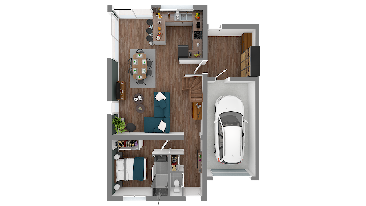 maison ossature bois logicobois modele milan - rdc - vue dessus