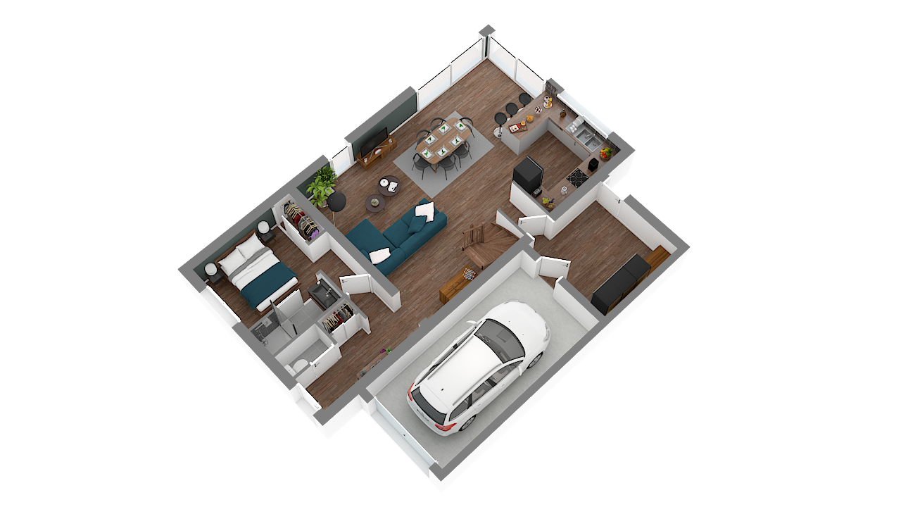 maison ossature bois logicobois modele milan - rdc - vue iso