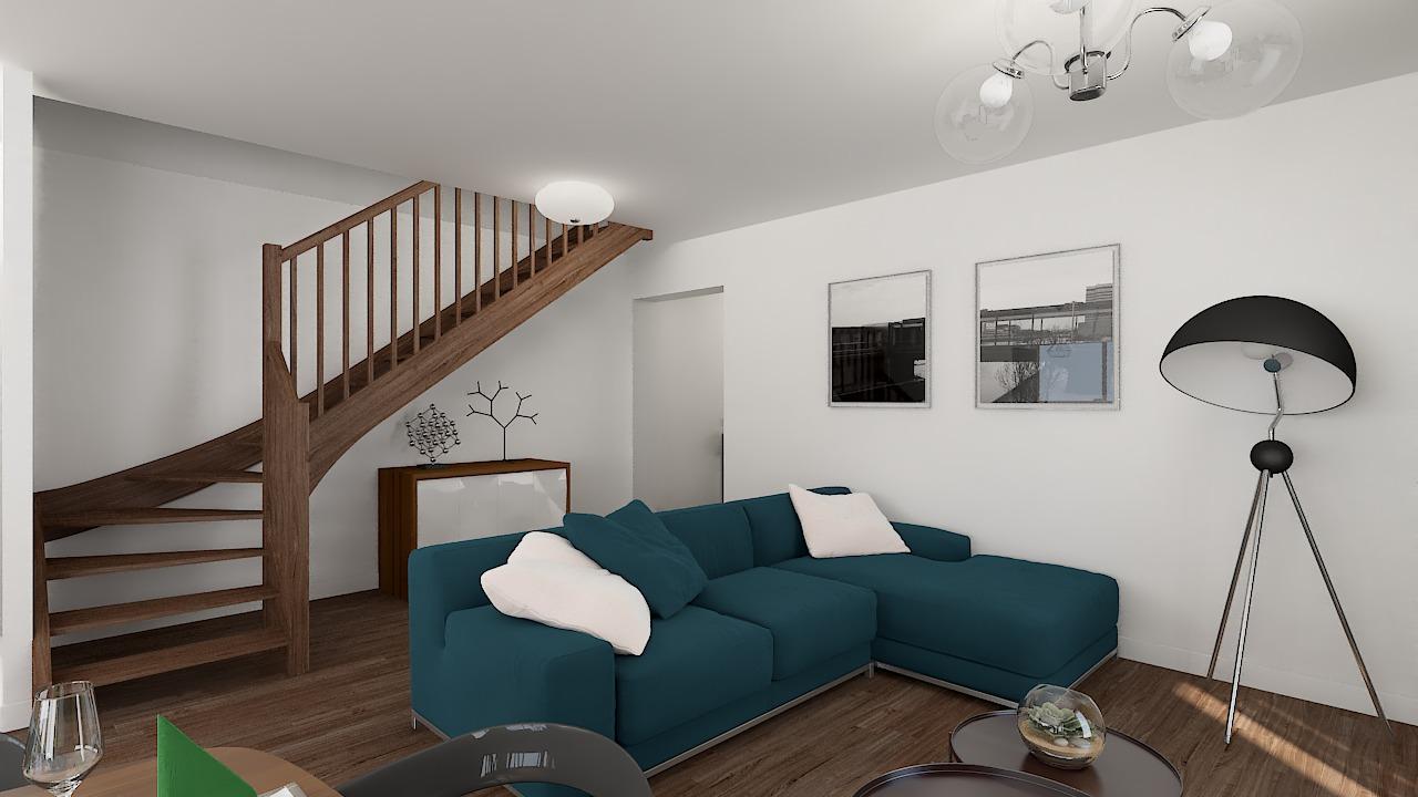 maison ossature bois logicobois modele milan - sejour