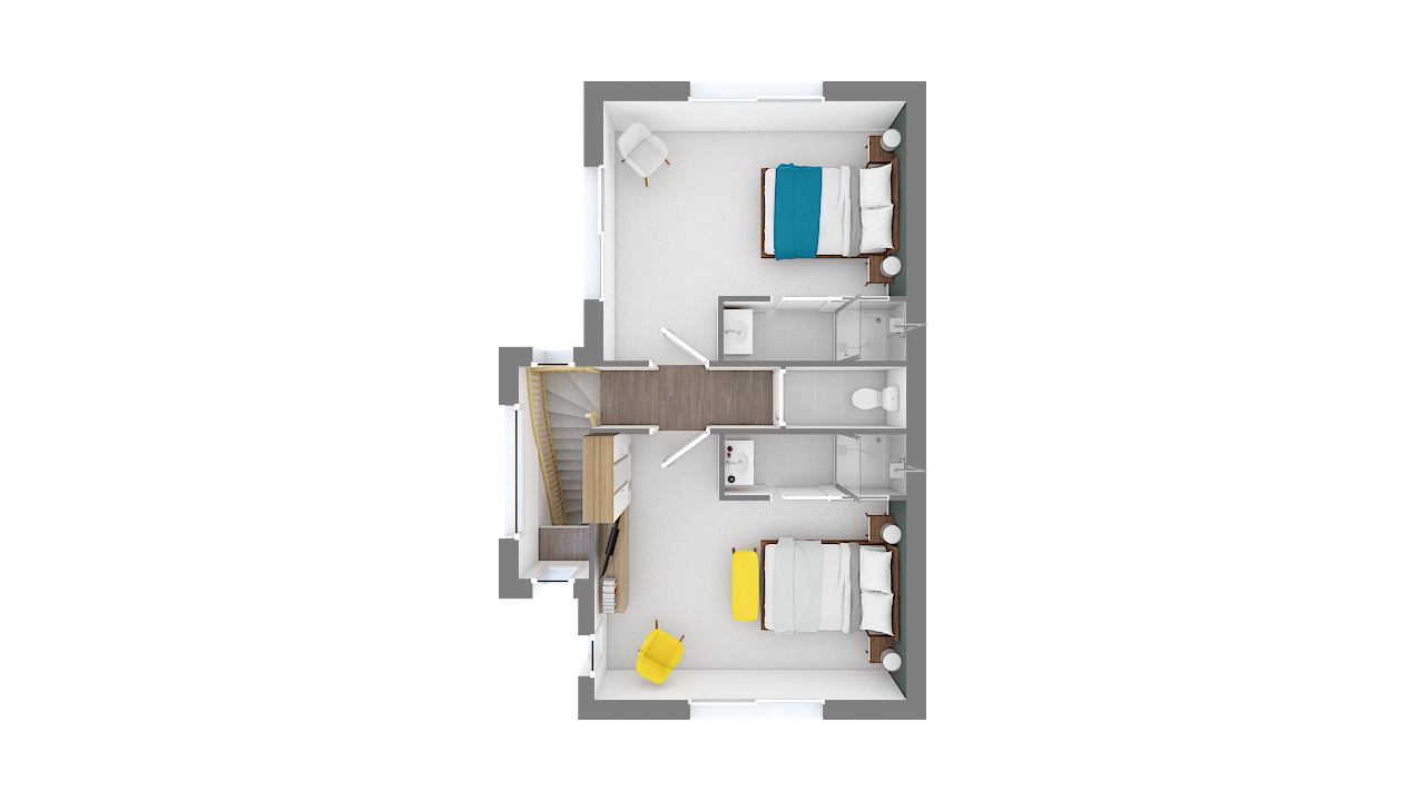 maison ossature bois logicobois modele new-york - etage vue dessus
