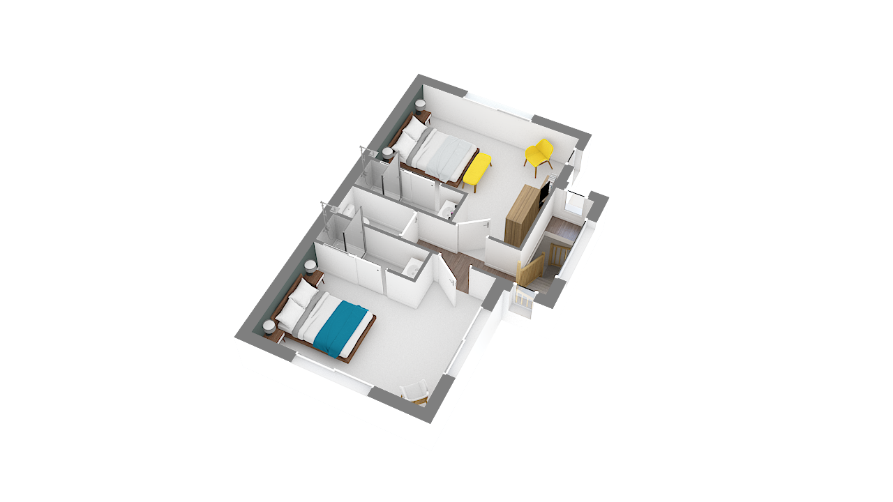maison ossature bois logicobois modele new-york - etage - vue iso