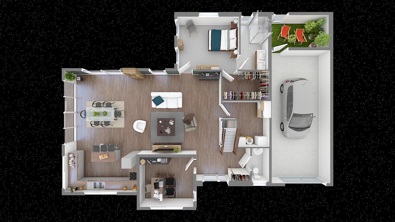 maison ossature bois logicobois modele new-york - rdc - vue dessus