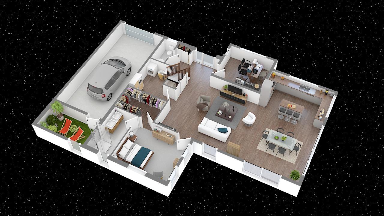 maison ossature bois logicobois modele new-york - rdc - vue iso