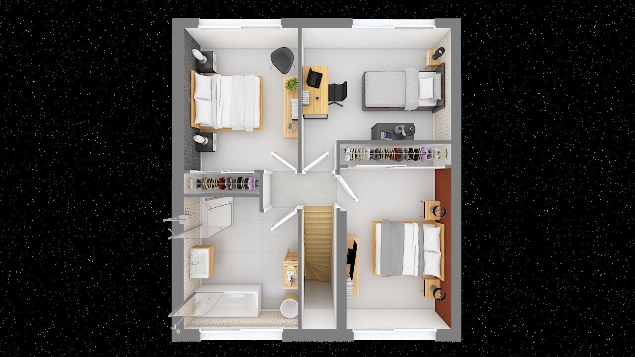 maison ossature bois logicobois modele oslo - etage - vue dessus