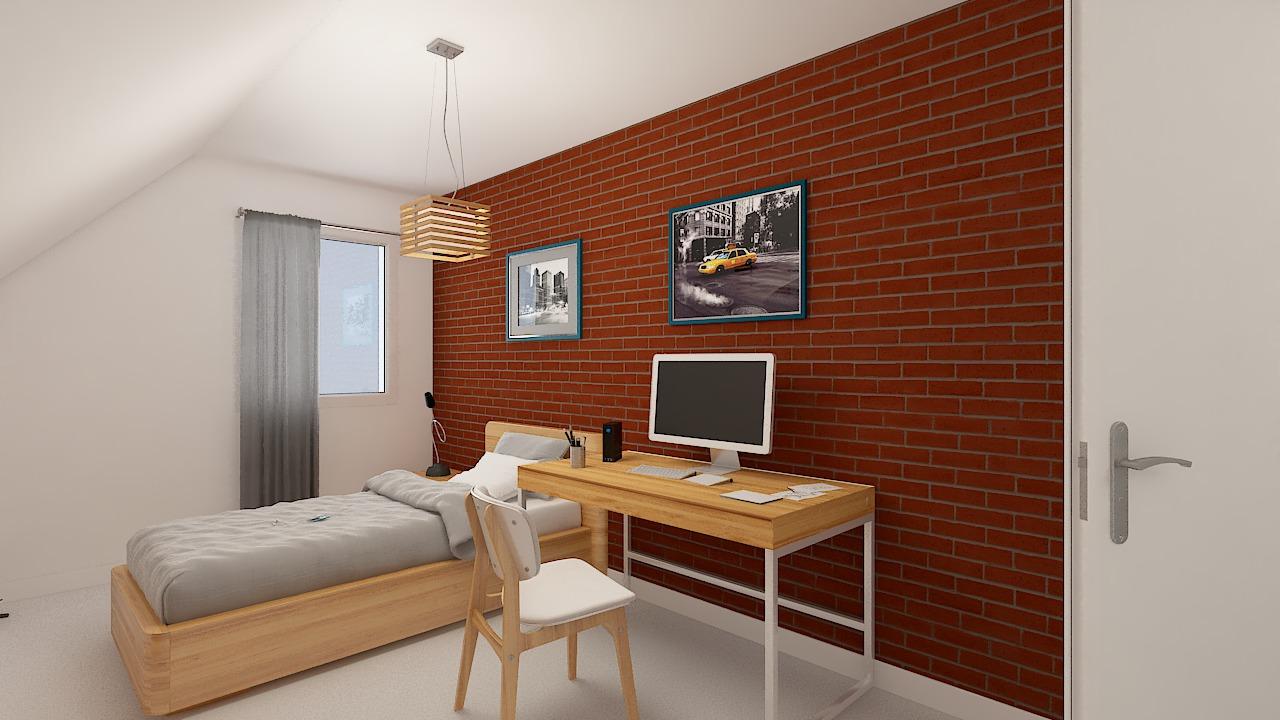 maison ossature bois logicobois modele ostrava - chambre2