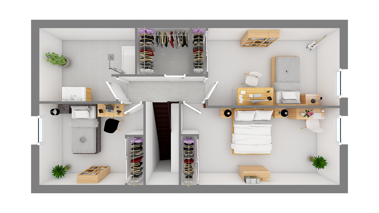 maison ossature bois logicobois modele ostrava - etage - vue dessus