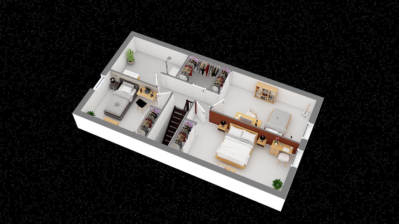 maison ossature bois logicobois modele ostrava - etage - vue iso