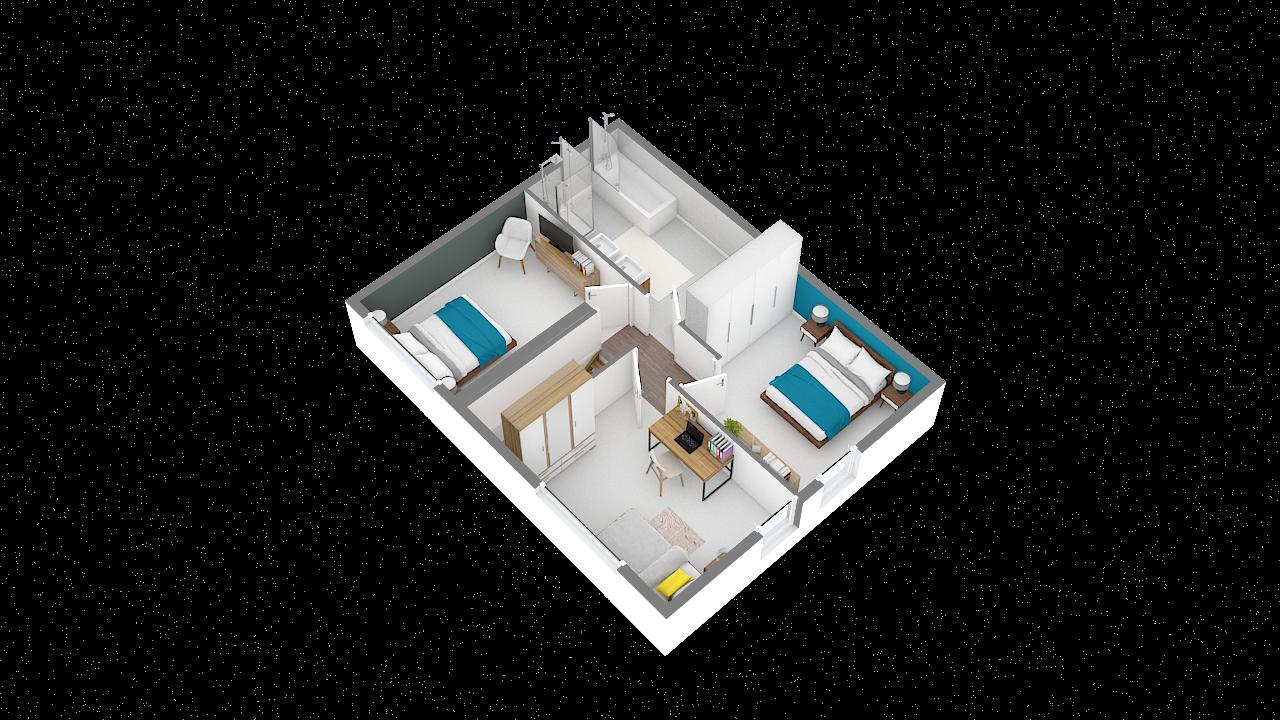 maison ossature bois logicobois modele riga - etage - vue iso