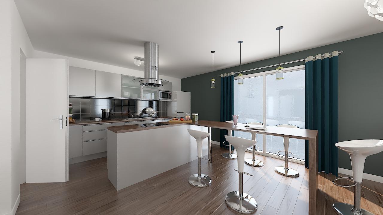 maison ossature bois logicobois modele shangai - cuisine