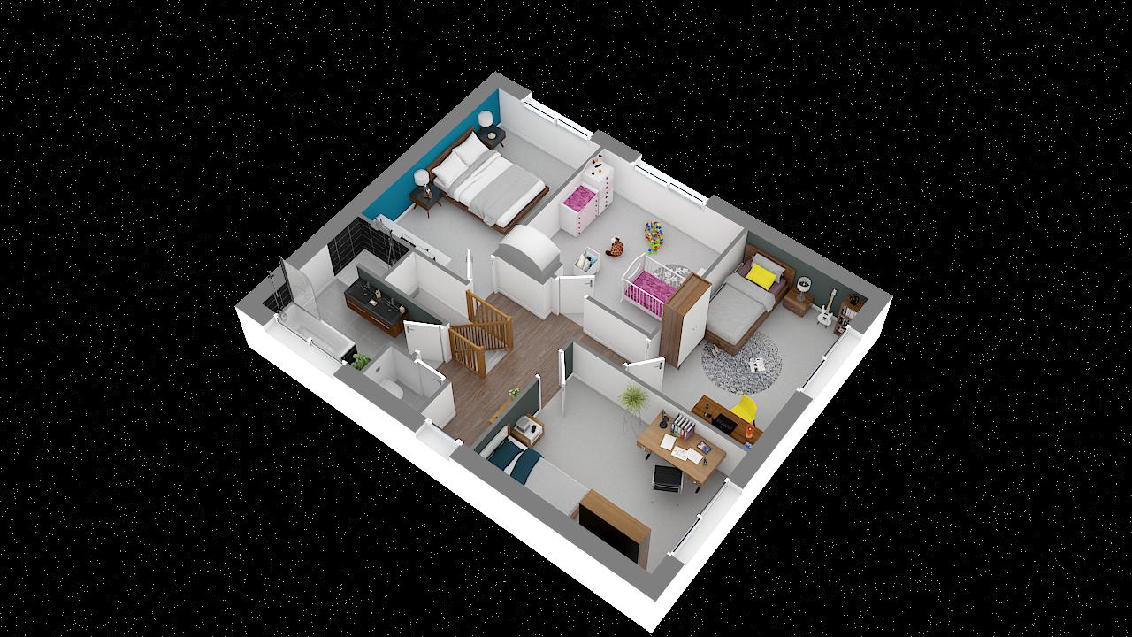 maison ossature bois logicobois modele shangai - etage vue iso