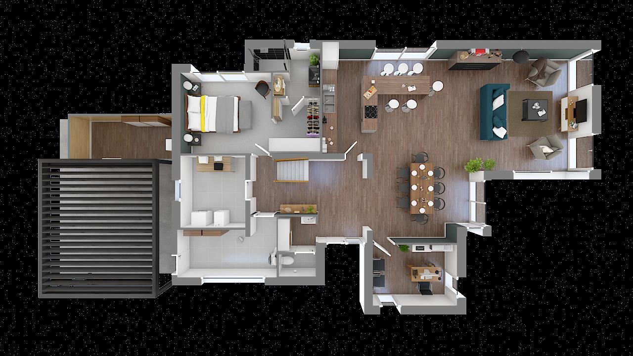 maison ossature bois logicobois modele shangai - rdc - vue dessus