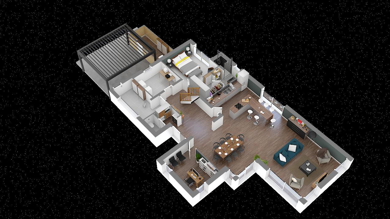 maison ossature bois logicobois modele shangai - rdc - vue iso