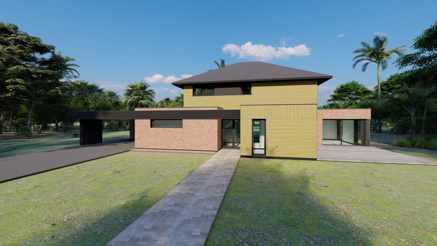maison ossature bois logicobois modele shangai vue devant