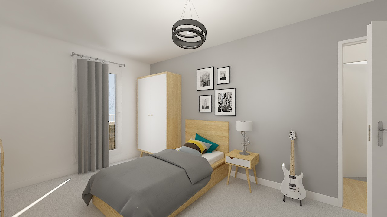 maison ossature bois logicobois modele stockholm - chambre2