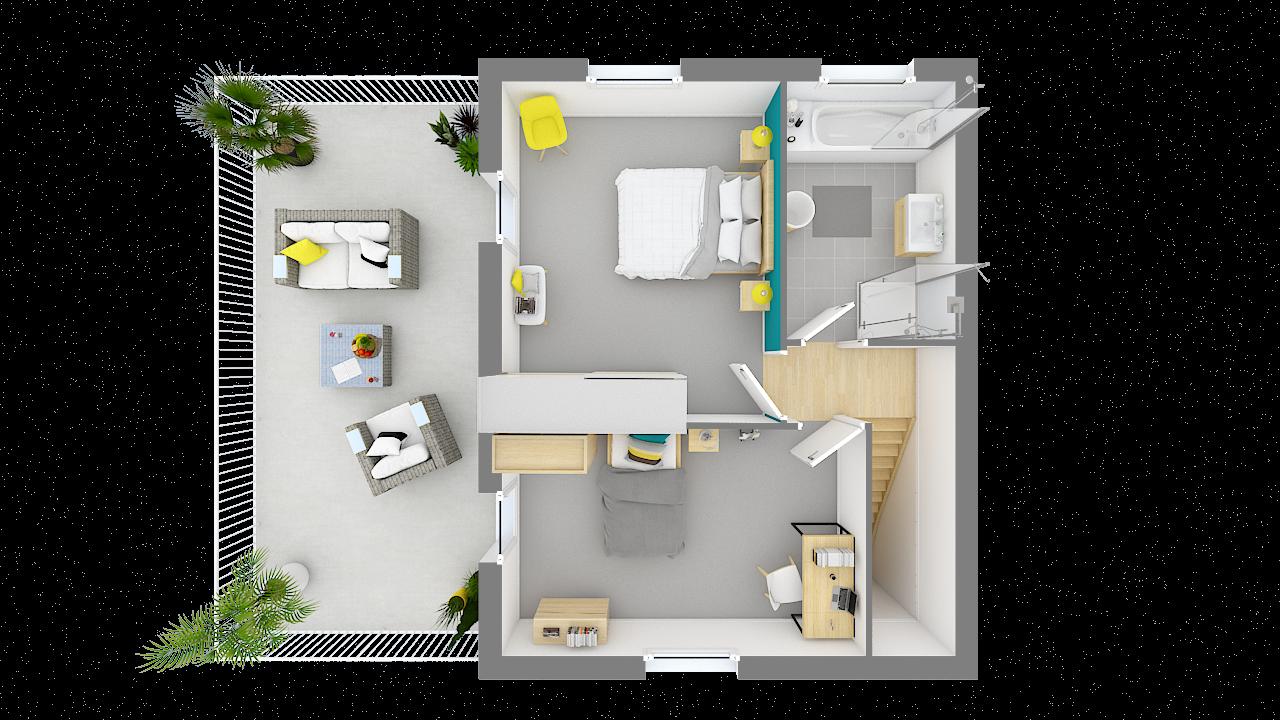 maison ossature bois logicobois modele stockholm - etage - vue dessus