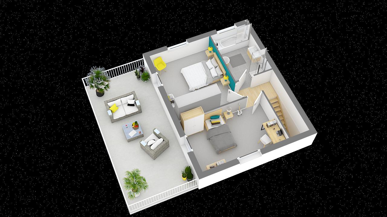 maison ossature bois logicobois modele stockholm - etage - vue iso