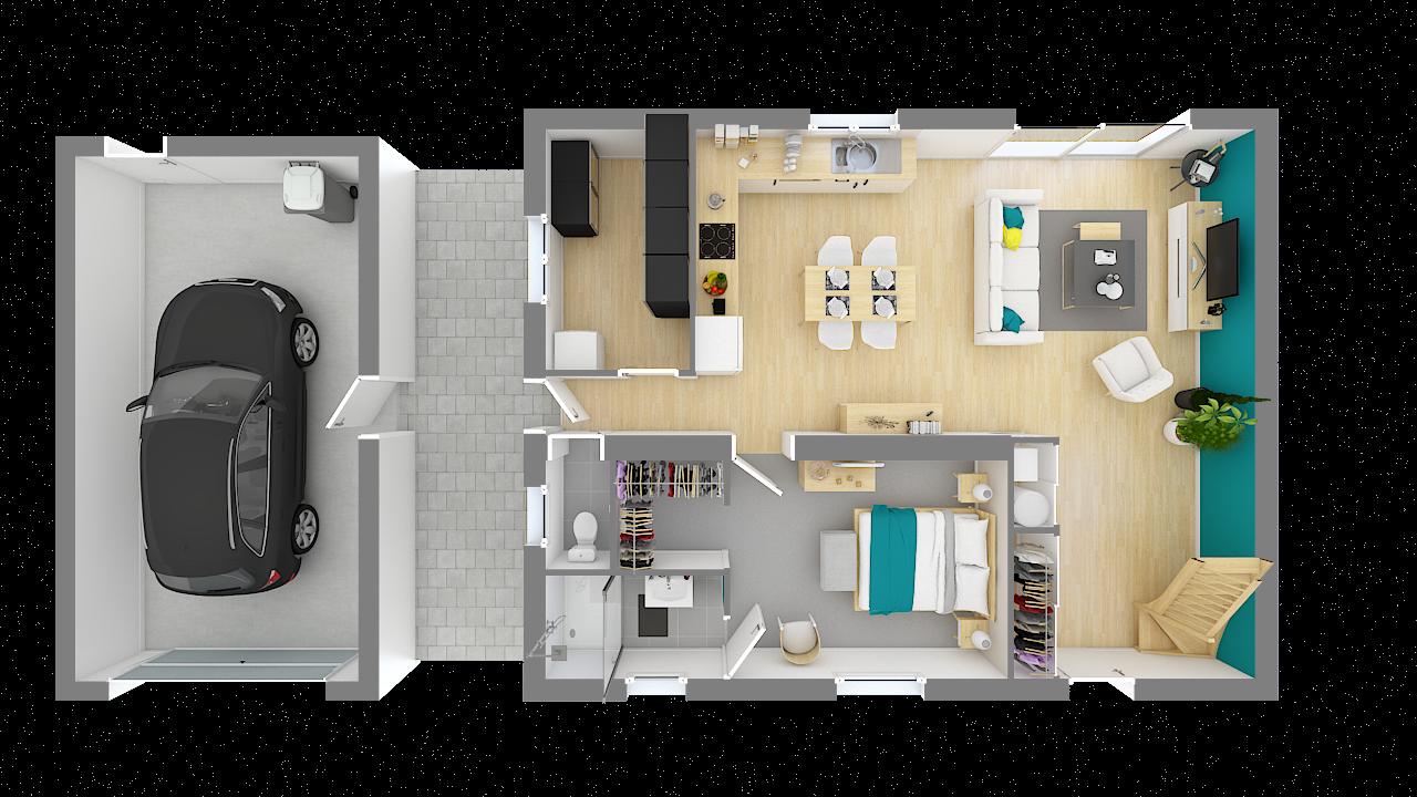 maison ossature bois logicobois modele stockholm - rdc - vue dessus