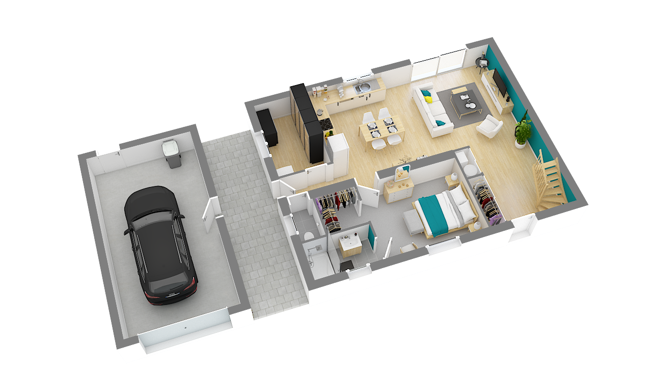 maison ossature bois logicobois modele stockholm - rdc - vue iso