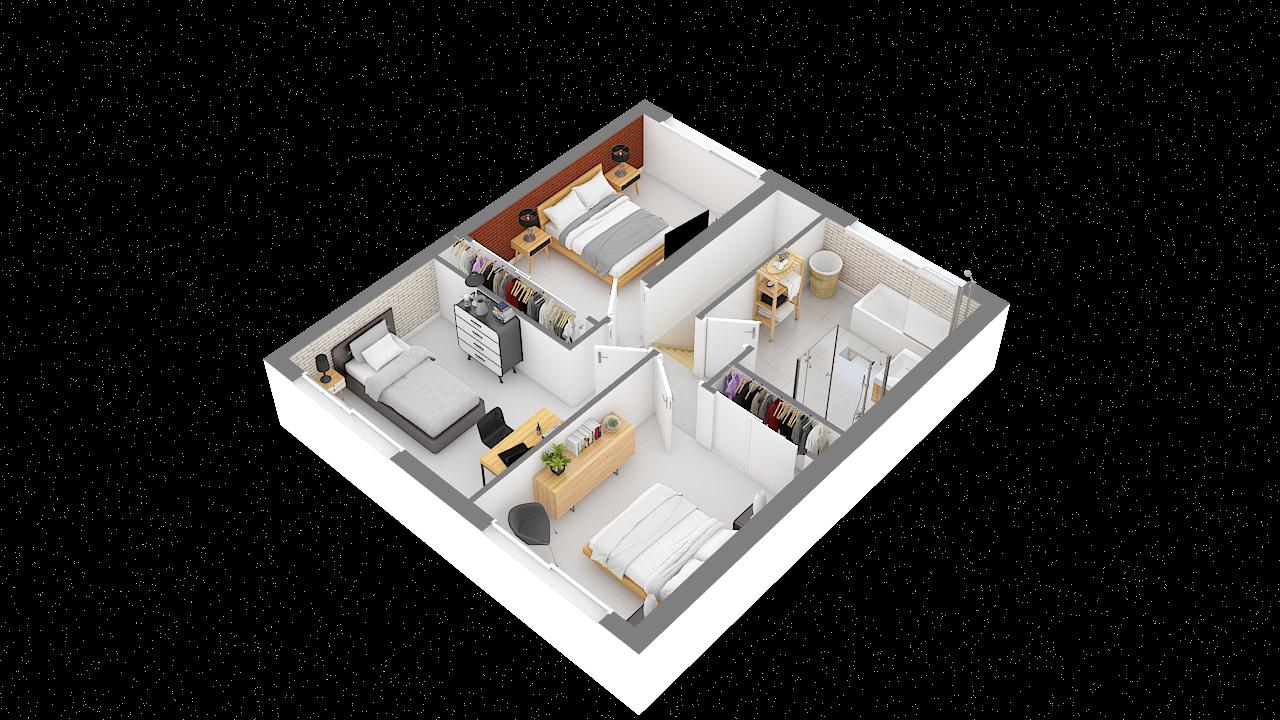 maison ossature bois logicobois modele oslo - etage - vue iso