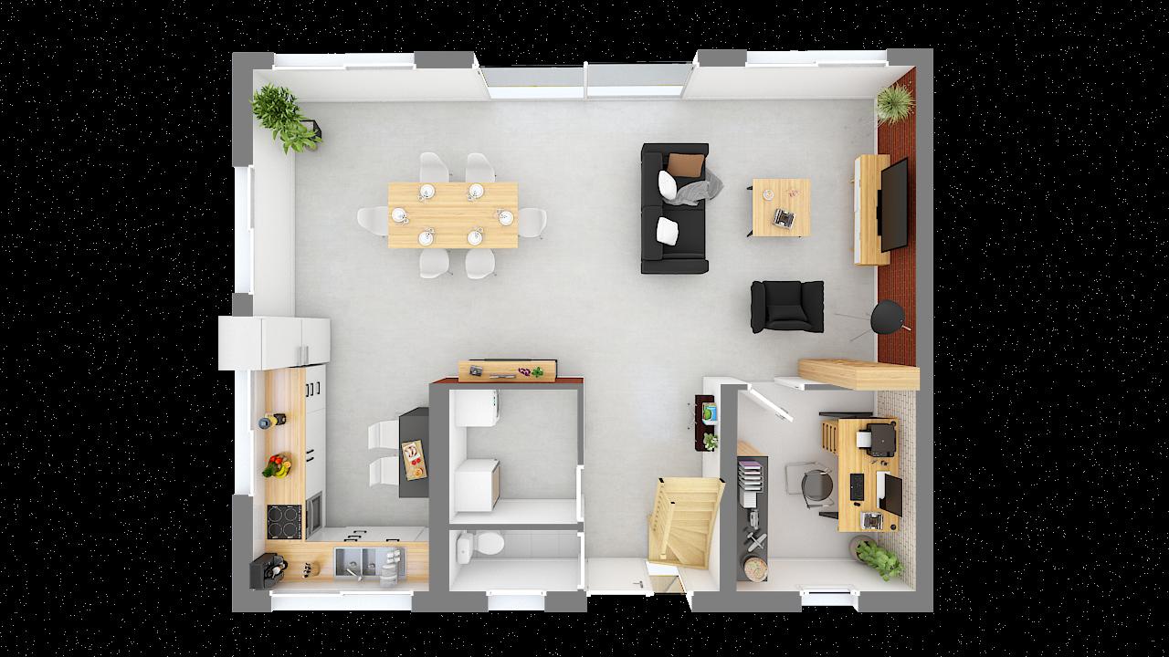 maison ossature bois logicobois modele oslo - rdc - vue dessus