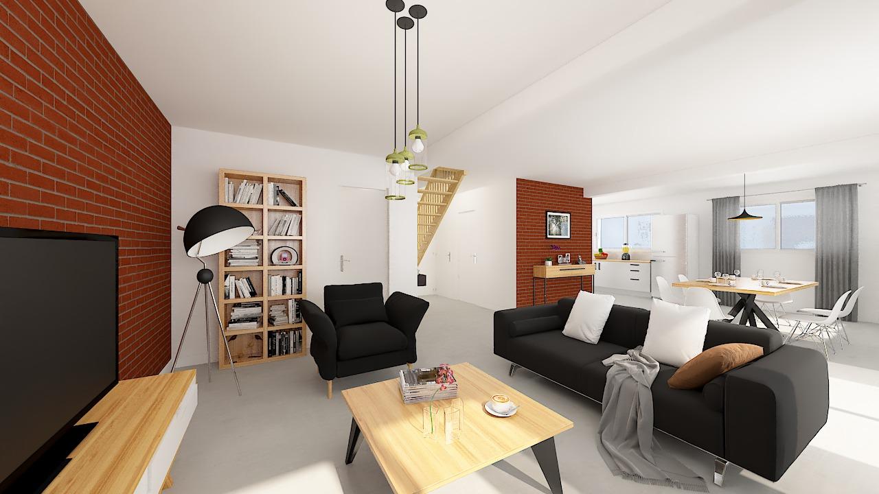 maison ossature bois logicobois modele oslo - sejour